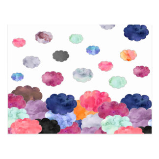 Multicolor whimsical watercolour clouds pattern postcard