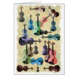 Multicolored Violin Wallpaper Greeting Card