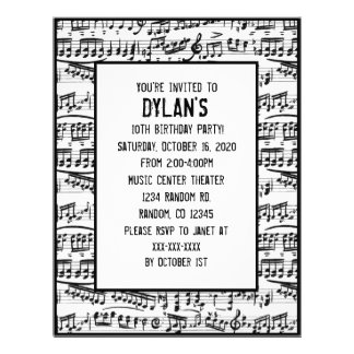 Music notes theme birthday party invitations 21.5 cm x 28 cm flyer