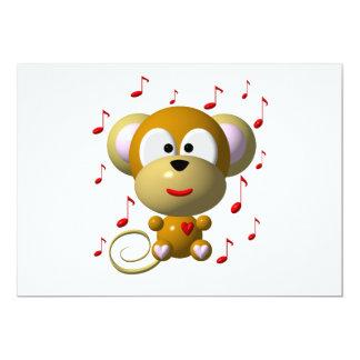 Musical monkey 13 cm x 18 cm invitation card