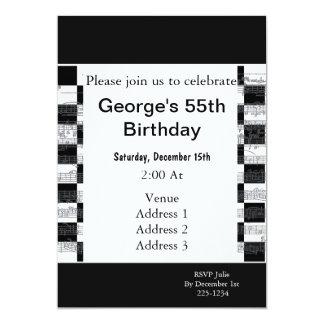 Musical Notes Birthday 13 Cm X 18 Cm Invitation Card
