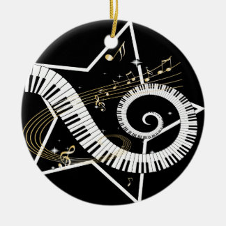 Musical Star golden notes Round Ceramic Decoration