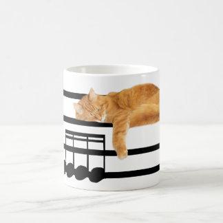 Musical tabby kitty cat basic white mug