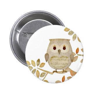 Musical Tree Owl 6 Cm Round Badge