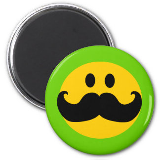 Mustache Smiley (Customizable background color) 6 Cm Round Magnet