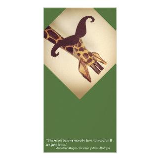 Mustached Giraffe Personalized Photo Card