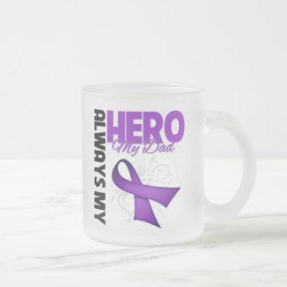 My Dad Always My Hero - Purple Ribbon Frosted Glass Mug