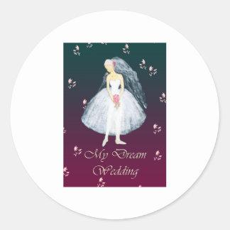 My dream wedding round sticker