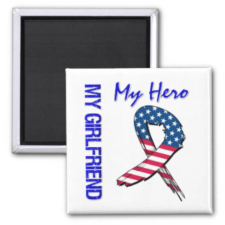 My Girlfriend My Hero Patriotic Grunge Ribbon Square Magnet