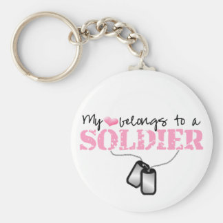 My Heart Belongs To A Soldier Basic Round Button Key Ring