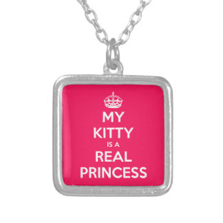 My Kitty Is A Real Princess Square Pendant Necklace