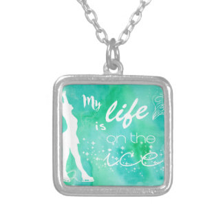My Life is on the ice Figure Skating Design Square Pendant Necklace