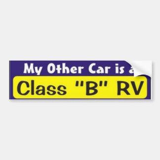 "My Other Car is a Class ""B"" RV Bumper Sticker"
