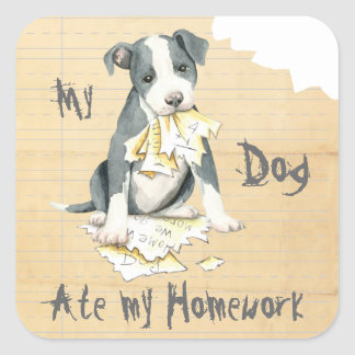 My Pit Bull Ate My Homework Square Sticker