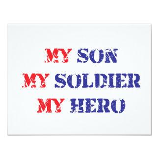 My son, my soldier, my hero 11 cm x 14 cm invitation card