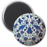 Mythological Heron Bird Pattern Tile Art 6 Cm Round Magnet