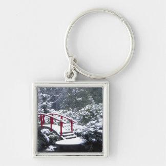 N.A., USA, Washington, Seattle. Moon bridge in Silver-Colored Square Key Ring