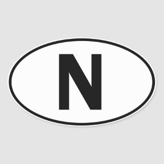 N Oval Identity Sign Oval Sticker