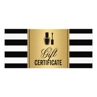 Nail Salon Gift Certificate Gold B&W Stripes Personalised Rack Card