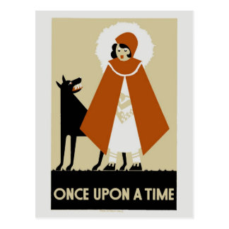 Naive Art Deco Little Red Riding Hood Postcard