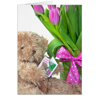 Name Day-teddy bear with tulips Greeting Card