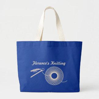 Named knitting cream wool bag