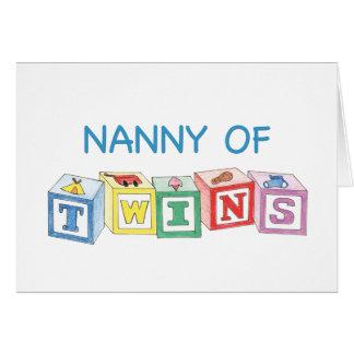 Nanny of Twins Blocks Greeting Card