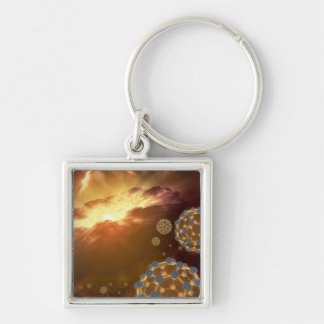 NASA - Bulky balls in space Silver-Colored Square Key Ring