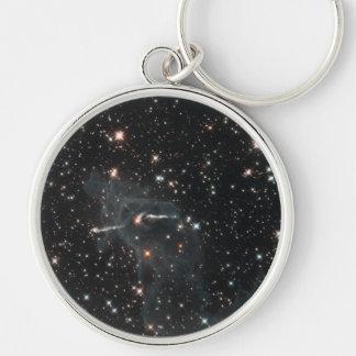 NASAs Carina Nebula Silver-Colored Round Key Ring