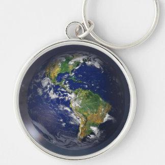 NASAs Earth rising II Silver-Colored Round Key Ring