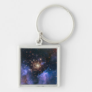 NASAs NGC3603 star cluster Silver-Colored Square Key Ring