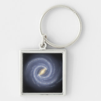 NASA's Road map to the Milky Way Silver-Colored Square Key Ring
