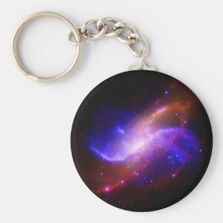 NASAs spiral galaxy M106 Basic Round Button Key Ring
