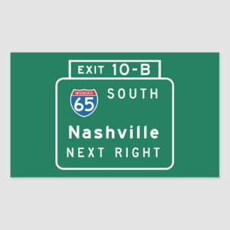 Nashville, TN Road Sign Rectangular Sticker