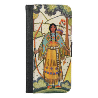 Native American Indian Girl Bow Arrows Forest