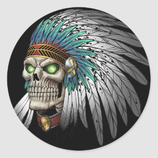 Native American Indian Tribal Gothic Skull Round Sticker