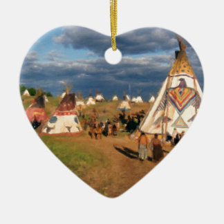 Native American Indian Village Ceramic Heart Decoration