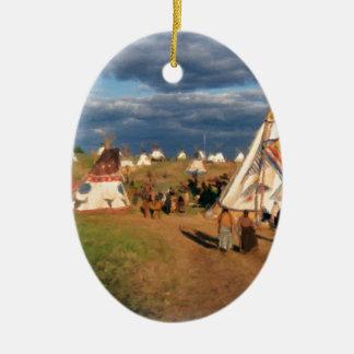 Native American Indian Village Ceramic Oval Decoration