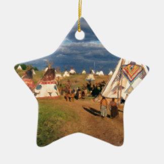 Native American Indian Village Ceramic Star Decoration