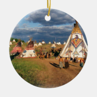 Native American Indian Village Round Ceramic Decoration