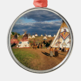 Native American Indian Village Silver-Colored Round Decoration