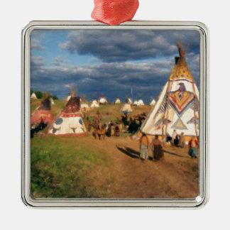 Native American Indian Village Silver-Colored Square Decoration