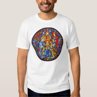 Nativity Painted Stained Glass Style Tee Shirts