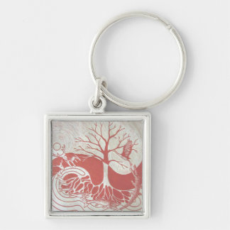 Naturecycle square key fob Silver-Colored square key ring