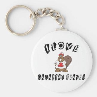 Naughty I Love Canadian Beaver Basic Round Button Key Ring