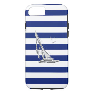 Nautical Chrome Sail Boat on Navy Stripes Print iPhone 7 Case