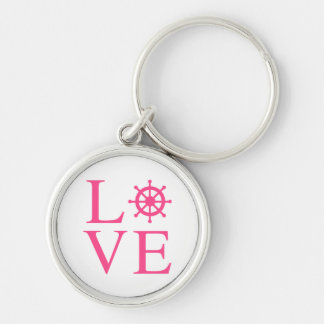 Nautical Love Pink Fuchsia Ship Wheel Silver-Colored Round Key Ring