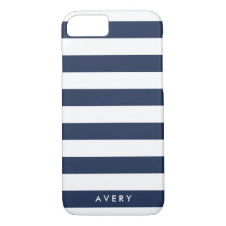 Nautical Modern Navy and White Stripe Personalized iPhone 7 Case