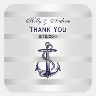 Nautical Navy Blue Anchor SQ Envelope Seals TY Square Sticker