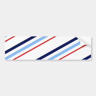 Nautical Red White Blue Stripes Bumper Sticker